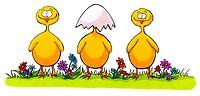 Drei kleine Osterküken