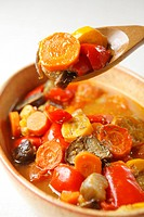Vegetable stew in bowl with spoon, close_up