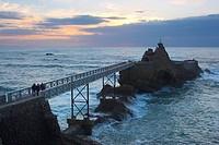 Rocher de la Vierge in the evening light, The Way of Saint James, Road to Santiago, Chemins de Saint_Jacques, Voie du littoral, Coastal Way, Cote d´Ar...