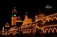 Malaysia, city building lit up at night, Kuala Lumpur