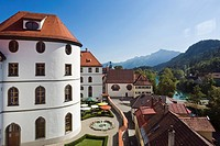 View of the abbey garden and part of the old town, Fuessen, Allgaeu, Bavaria, Germany