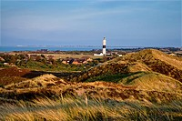 Lighthouse in the dunes, Kampne, Sylt Island, Schleswig_Holstein, Germany