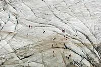 Tourists on the glacier, Climate change, Grossglockner, Glocknergruppe, Hohen Tauern, Austria