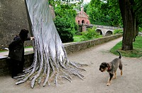 Steel tree in the park, Wuerzburg, Lower Franconia, Bavaria, Germany