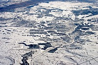 Aerial view of winter landscape, Northern Spain