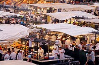 People at snack stalls on Place Jemaa el_Fna, Marrakesh, South Morocco, Morocco, Africa