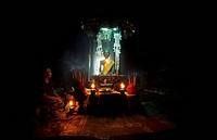 Buddhist statue inside temple, Bayon, Angkor Thom, Angkor, Cambodia
