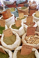 Spices on the market, Collioure, Languedoc_Roussillon, South France, France