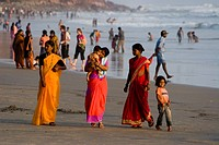 India Kerala Vakala beach indian people