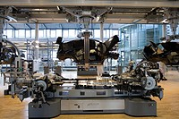The transparent factory, automobile production plant owned by Volkswagen, modern factory designed to make the production line visible to the outside w...