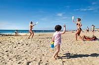 Women playing beach tennis, Westerland, Sylt Island, Schleswig_Holstein, Germany