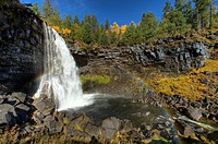 Volcanic Canim Falls in the Cariboo region of British Columbia canada