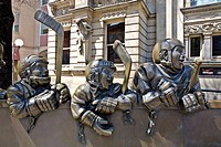 Our Game sculpture in front of Hockey Hall of Fame, Front Street, Toronto, Ontario, Canada