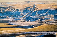 Snow covered hills. Rosedale, The Badlands, Alberta Canada