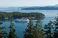 BC Ferries in Active Pass from Galiano Island, Gulf Islands, BC, Canada