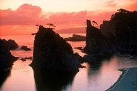 Sunrise over rocky shore in Rikuchu National Park at Jodogahama on Honshu Island in Japan
