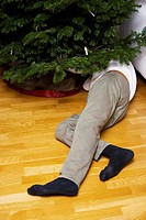 Low section view of a man laying on the floor decorating a Christmas tree