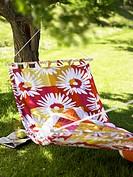 A hammock in a garden.