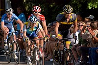 Lance Armstrong leads Levi Leipheimer blue & yellow and Ben Jacques-Maynes red, in Nevada City Bicycle Classic, June 21, 2009  Finish standing: Armstr...