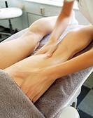 A woman having a massage at a spa Sweden.