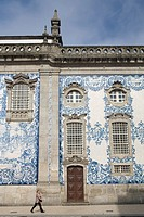 Blue tiles of front side of Carmo Church  Oporto  World Heritage  Portugal