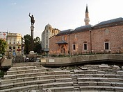 Bulgaria, Plovdiv, Stamboliski place, Roman stadium, statue of Philip of Macedon