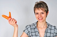 woman with carrot