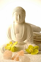 Buddha with orchid blossoms and salt crystals