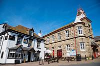 King´s Arms Inn and Town Hall. Market place. Marazion. Cornwall. England. UK.