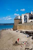 Marazion beach with The Godolphin Arms at the background. Cornwall. England. UK.