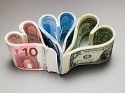 Banknotes in heart shapes