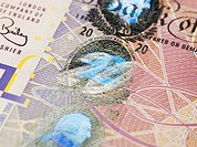 Close up of twenty pound note
