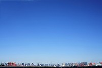 Blue sky over office buildings, copy space, Tokyo prefecture, Japan