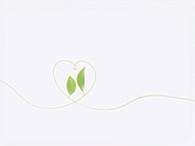 Leaves and line forming heart, white background