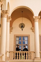 Businessmen shaking hands in a hotel, Biltmore Hotel, Coral Gables, Florida, USA