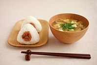 Japanese simple dishes, rice balls and miso soup, white background