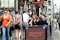 cafe terrace scene, Brunswick Street, Fitzroy, Melbourne, Australia