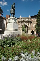 Vicenza (Italy): piazza Matteotti – with the monument to F. Lampertico - and the Teatro Olimpico entrance