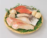 Slices of fish and shellfish