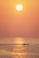 Fishing boat at sunset. Fukuoka Prefecture, Japan