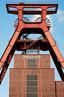 Winding tower of shaft 12 at Zollverein Coal Mine Industrial Complex, Essen, North Rhine-Westphalia, Germany
