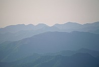 Morning fog over mountains. Sasguri_machi, Fukuoka Prefecture, Japan