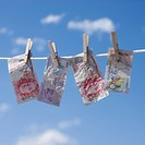 British pounds on clothes line