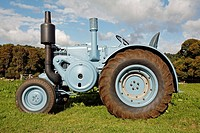 A restored antique 1952 Lanz Bulldog tractor  Note: the owner has supplied a property release for this tractor  However, it has not been released by t...