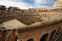 View over the internal space of the Colosseum, Rome, Italy, wide_angle shot