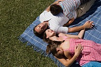 Family lying on picnic blanket on the lawn