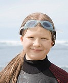Girl in wet suit with goggles