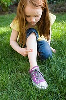 Girl with plaster on leg (thumbnail)