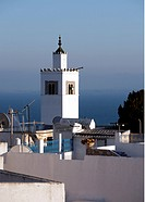 View to minaret with Mediterranean Sea in the background, Sidi Bou Said, Tunisia
