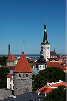 View to the city wall with watchtowers and the Church of St. Olav in the old quarter of Tallinn, Estonia, elevated view